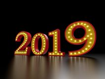 New Year 2019 - 3D Rendered Image. Happy New Year 2019 with Neon Light - 3D Rendered Image Design Royalty Free Stock Image