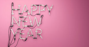 Happy New Year Neon Light Pink 3D Stock Image
