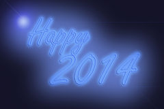 A Happy new year 2014 neon lights. Happy new year 2014 neon lights Royalty Free Stock Image