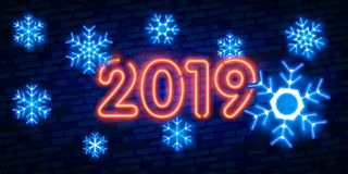 Winter neon. snowflakes with glow. 2019 Happy New Year Neon lights design, Merry Christmas and Xmas background, retro card, vector. 2019 Happy New Year Neon stock image