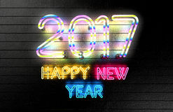 Happy New Year 2017 neon lights. Royalty Free Stock Images