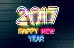 Happy New Year 2017 neon lights. Royalty Free Stock Photography