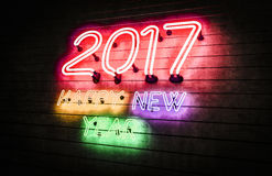 Happy New Year 2017 neon lights. Stock Images