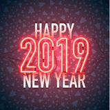 Happy new year 02. Happy New Year with neon sign 2018 on dark background. Christmas related ornaments objects on color background. Greeting Card Ready for your royalty free illustration