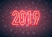 Happy New Year with neon sign 2019 on dark background. Christmas related ornaments objects on color background. Greeting Card. Ready for your design. Vector vector illustration