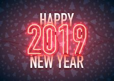 Happy New Year with neon sign 2019 on dark background. Christmas related ornaments objects on color background. Greeting Card. Ready for your design. Vector stock illustration