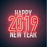 Happy new year 02. Happy New Year with neon sign 2019 on dark background. Christmas related ornaments objects on color background. Greeting Card Ready for your vector illustration