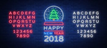 Happy new year 2018 is a neon sign. Neon symbol for your New Year`s projects  Royalty Free Stock Photography