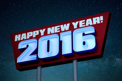 Happy New Year! 2016 Neon Sign at Night. Neon sign with the text Happy New Year! 2016 in glowing neon lights stock illustration