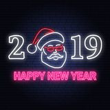 Happy New Year 2019 neon sign with santa claus. Vector illustration. Happy New Year 2019 neon sign with santa claus. Vector. For greeting card, flyer, poster stock illustration