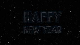 Happy new year neon sign on the wall flikers and turns on with snowflakes floating around, 3D animation stock video