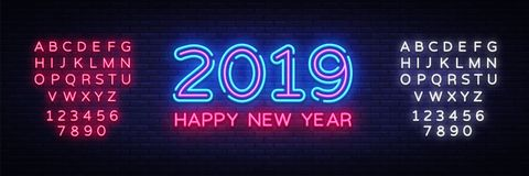 2019 Happy New Year Neon Text. 2019 New Year Design template for Seasonal Flyers and Greetings Card or Christmas themed. Invitations. Light Banner. Vector royalty free illustration