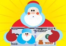 Happy New Year-with a new happiness!. Santa Claus holding a dollar bill nomnalom a hundred dollars Stock Photography