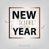 Happy New Year 2018. New Year flat designed. Background with gold color. Calligraphic text Royalty Free Stock Photography