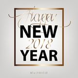 Happy New Year 2018. New Year flat designed. Background with gold color. Calligraphic text Royalty Free Stock Image