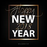 Happy New Year 2018. New Year flat designed vector. Background with gold color. Calligraphic text Royalty Free Stock Photos