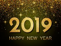 2019 Happy New Year. New Year 2019 greeting card. Background wit. H golden numbers and glitter. Vector illustration vector illustration
