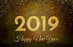 2019 Happy New Year. New Year 2019 greeting card. Background wit. H golden numbers and glitter. Vector illustration stock illustration