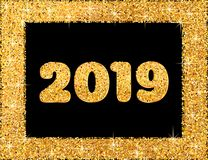 2019 Happy New Year. New Year 2019 greeting card. Background wit. H golden numbers in frame and glitter. Vector illustration royalty free illustration