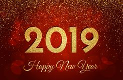 2019 Happy New Year. New Year 2019 greeting card. Golden numbers. And glitter on dark red background. Vector illustration royalty free illustration