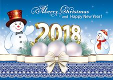 Happy New Year 2018. New year postcard with snowmen decorated  ribbon with bow Royalty Free Stock Images