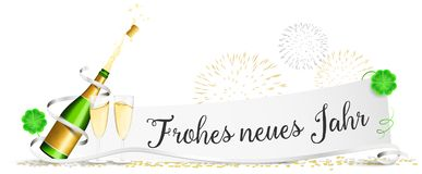 Happy new year New Year`s Eve paper with champagne glasses, fireworks and clover isolated vector