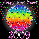 Happy New Year - New Years Glowing Sphere. This is the iconic new years geodesic sphere that drops in NYC at Timesquare every year. The ball that will drop on Stock Photo