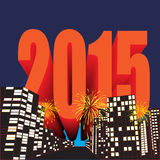 Happy new year. 2015 in night city stock illustration