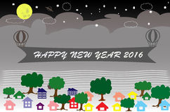 Happy new year 2016. Night in the city art design and Happy new year 2016 Royalty Free Stock Photography