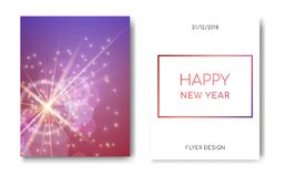 Happy New Year night flyers banner with Sparks glitter glowing,star burst glow and lens flare on blue background.Show stock illustration