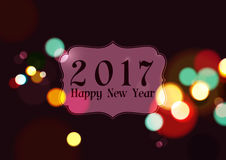 Happy New Year 2017 on Night Lights Background. Vector Illustration Stock Image