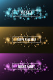 Happy New Year. Night party. Great sale. Background of multicolored lights. Glare bokeh. White, rectangular banners. Vector illustration Stock Image