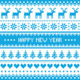 Happy New Year - Nordic winter blue pattern Stock Images