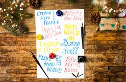 Happy new year note in different languages stock photos