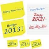 Happy New Year notes Royalty Free Stock Images