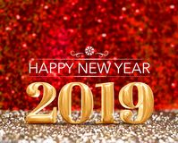Happy new year 2019 year number 3d rendering at sparkling go stock illustration