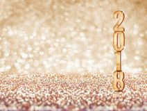 Happy new year 2018 year number  3d rendering  at sparkling go. Lden glitter studio background ,Holiday Greeting card.Banner mock up space for display of product Royalty Free Stock Photography