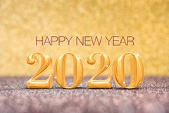 Happy new year 2020 year number  3d rendering  at sparkling golden and red copper glitter floor studio background ,Holiday