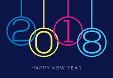 Happy new year 2018 number design calendar background decoration.  Royalty Free Stock Photos