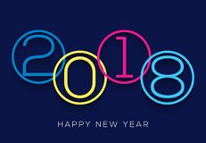 Happy new year 2018 number design calendar background decoration.  Royalty Free Stock Image