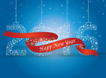 Happy new year 2016, the number made with flakes wrapped in red Royalty Free Stock Photo