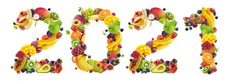 Happy New Year 2021. Number 2021 made of tropical and exotic fruits