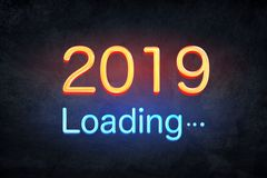 2019 happy new year number with neon lights backgrorund. stock images