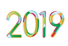 Happy New Year 2019,Number 2019,Numeral 2019, colorful 2019 royalty free illustration