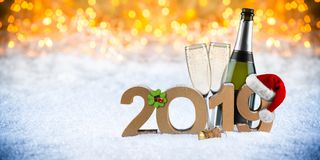 Happy new year 2019 number with santa hat four leaf clover champ stock photos