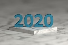 Number of 2020 year in shiny metallic blue texture over pedestal podium. Number of 2020 year in shiny metallic blue texture over pedestal podium made of marble vector illustration