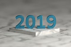 Number of 2019 year in shiny metallic blue texture over pedestal podium. Number of 2019 year in shiny metallic blue texture over pedestal podium made of marble vector illustration