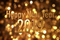 2019 happy new year number with sparkling gold bokeh backgrorund stock images