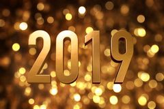 2019 happy new year number with sparkling gold bokeh backgrorund stock photography
