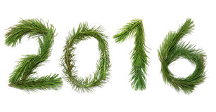 Happy New, 2016, Year!. Number two thousand sixteen - New year 2016. All objects are made of a pine branches royalty free stock photography